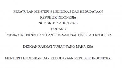 Permendikbud Nomor 8 tahun 2020