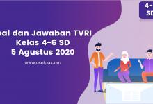 Photo of Soal dan Jawaban TVRI Kelas 4-6 SD : 5 Agustus 2020