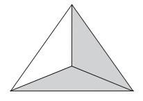 2/3 dengan menggunakan gambar segitiga.