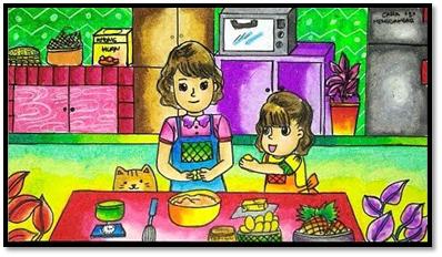 Gambar bercerita liburan di rumah memasak bersama ibu