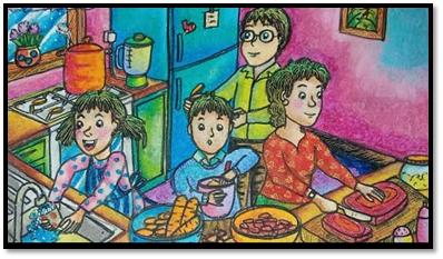 Gambar Bercerita Liburan di Rumah Memasak Bersama Keluarga