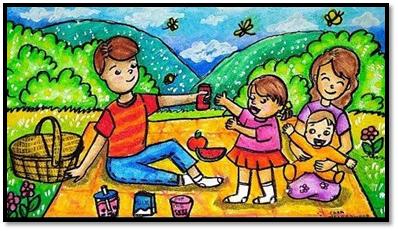 Gambar Bercerita Liburan di Rumah Piknik Bersama Keluarga di Kebun Rumah