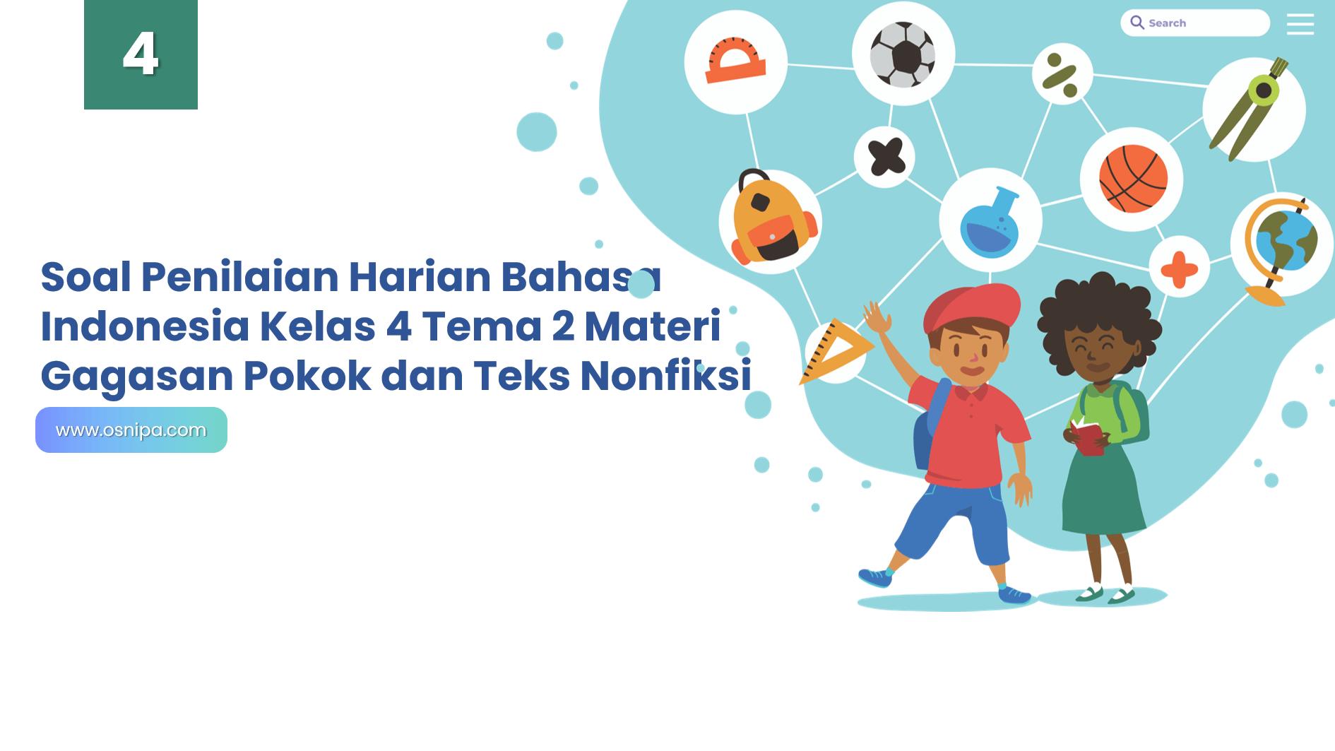 Soal Penilaian Harian Bahasa Indonesia Kelas 4 Tema 2 Materi Gagasan Pokok dan Teks Nonfiksi