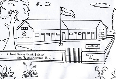 Contoh sketsa gambar imajinatif gedung sekolah