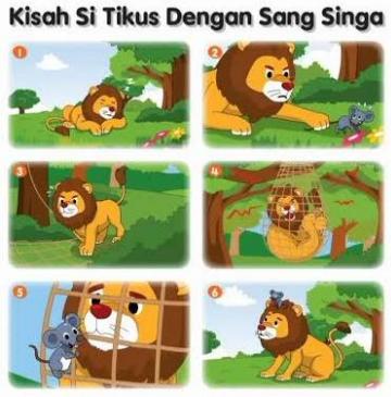 Gambar Seri Kisah Si Tikus dengan Sang Singa