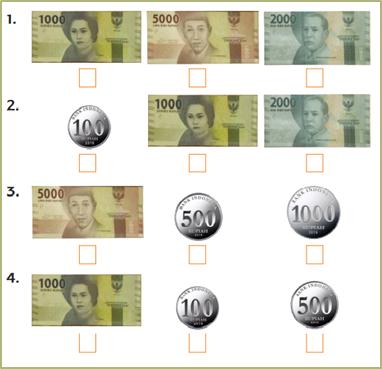 Bandingkan pecahan mata uang berikut! Urutkan dari yang nilainya terkecil!