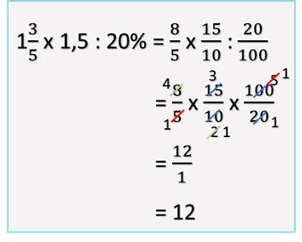 3. Hasil dari 1 3/5 x 1,5 : 20% = ....