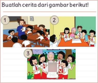 Buatlah cerita berdasarkan urutan gambar! Tulislah menggunakan huruf kapital yang tepat!